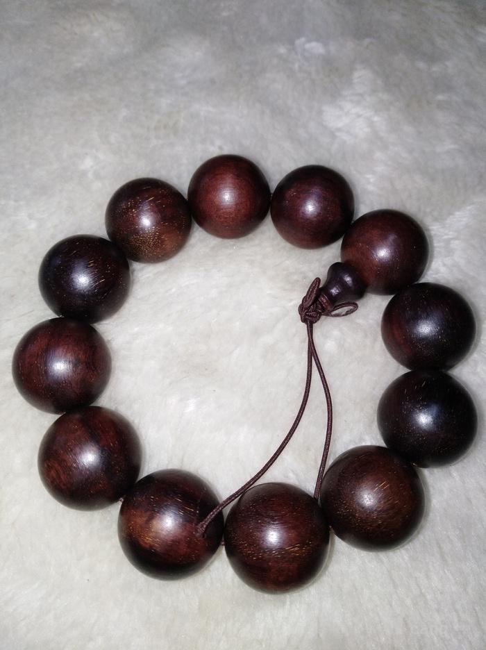 印度紫檀木雕2.0手串包真紫檀珠子直径2厘米图2