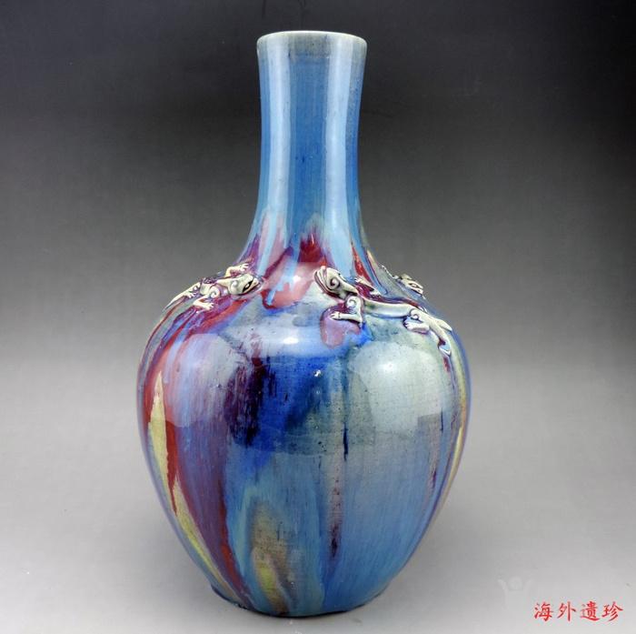 清代 中晚期 螭龙堆塑窑变釉天球瓶 35厘米图2