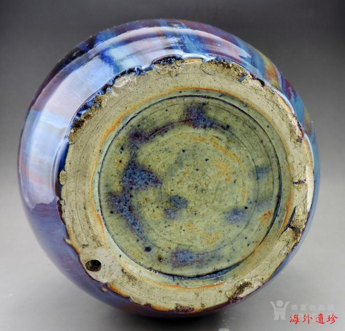 清代 中晚期 螭龙堆塑窑变釉天球瓶 35厘米图9