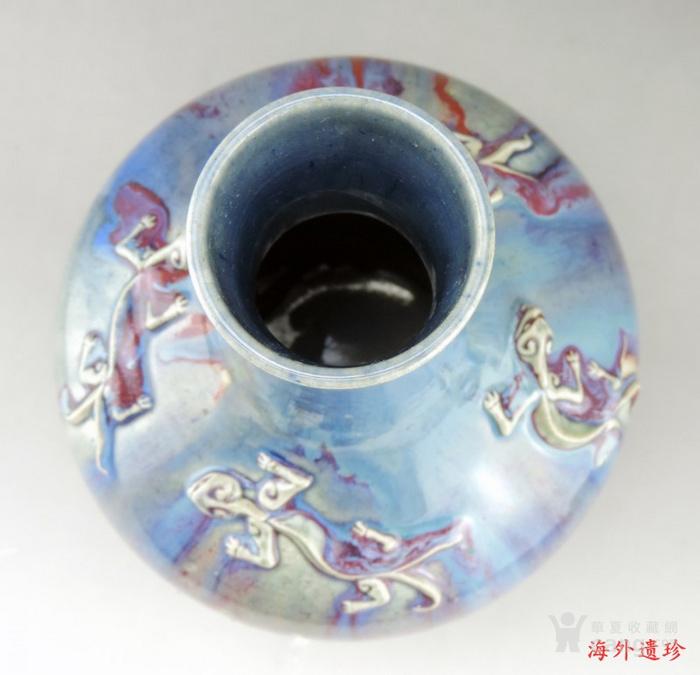 清代 中晚期 螭龙堆塑窑变釉天球瓶 35厘米图6