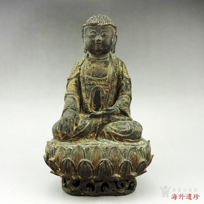 明代 嘉靖九年释迦摩尼泥金铜像图1