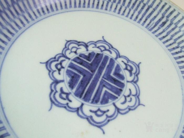 清代早期梵文万寿纹青花大盘图8