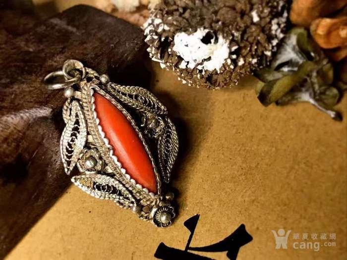 德国回流十九世纪天然沙丁红珊瑚镶嵌吊坠 德工匠手工打造图3