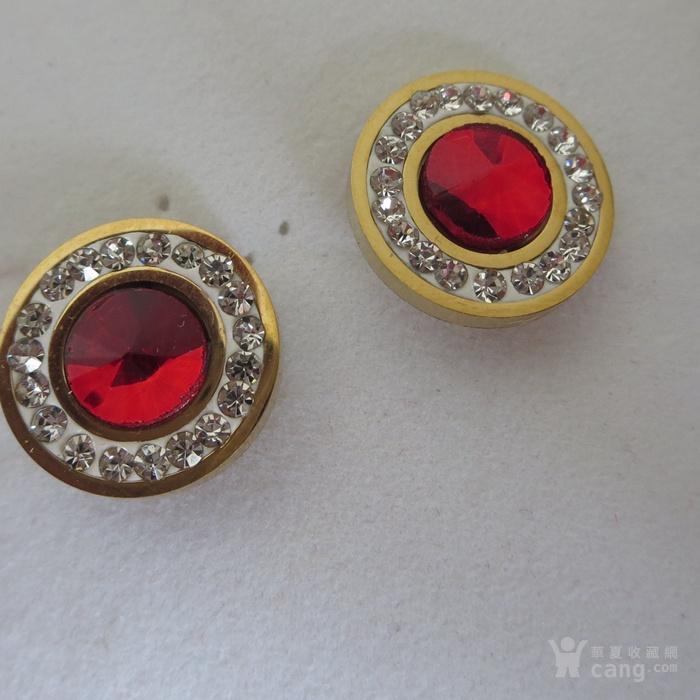铜鎏金镶宝石耳钉镶红宝石耳塞图1
