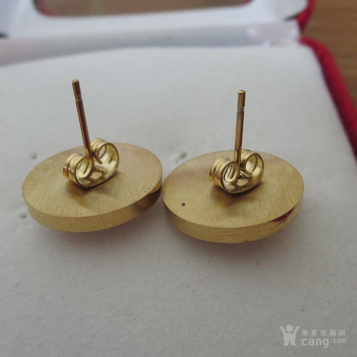 铜鎏金镶宝石耳钉镶红宝石耳塞图3