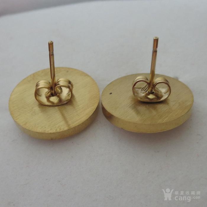 铜鎏金镶宝石耳钉镶红宝石耳塞图4