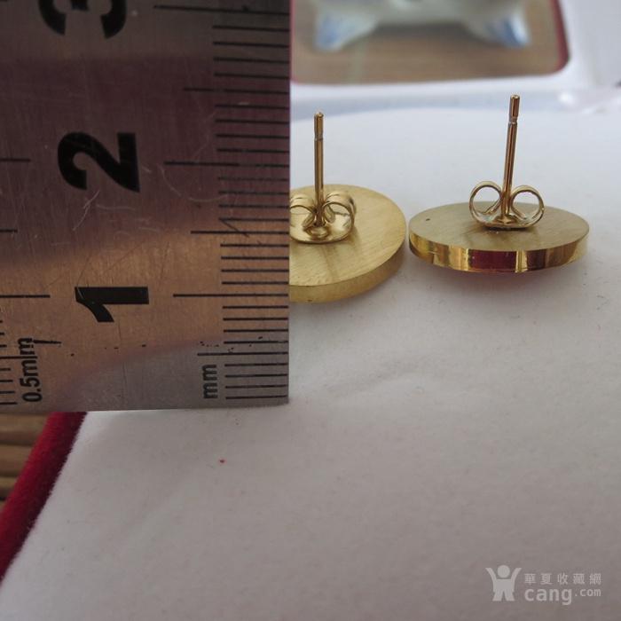 铜鎏金镶宝石耳钉镶红宝石耳塞图5