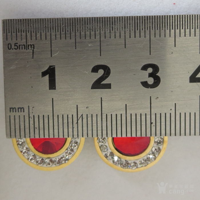铜鎏金镶宝石耳钉镶红宝石耳塞图6