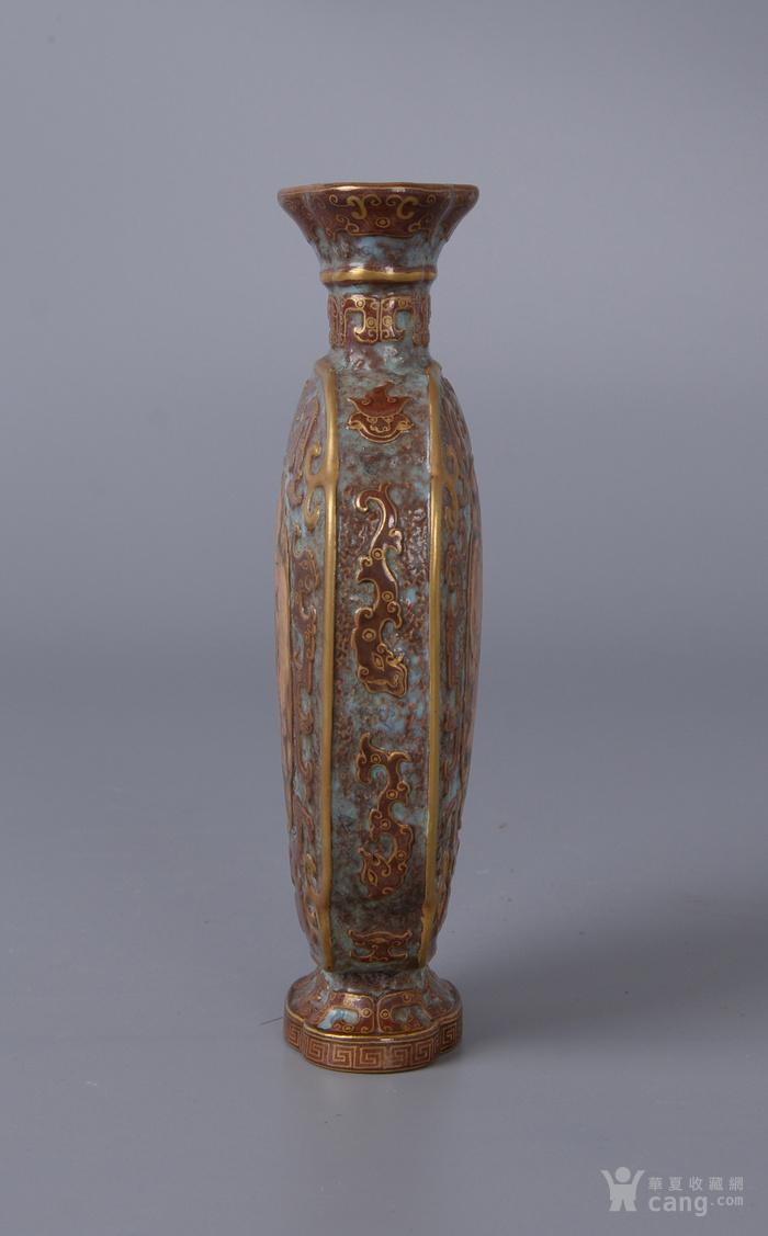 欧洲回流古铜彩扁瓶图2