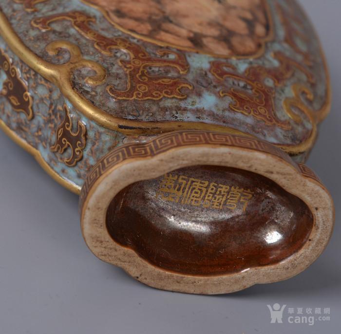 欧洲回流古铜彩扁瓶图7