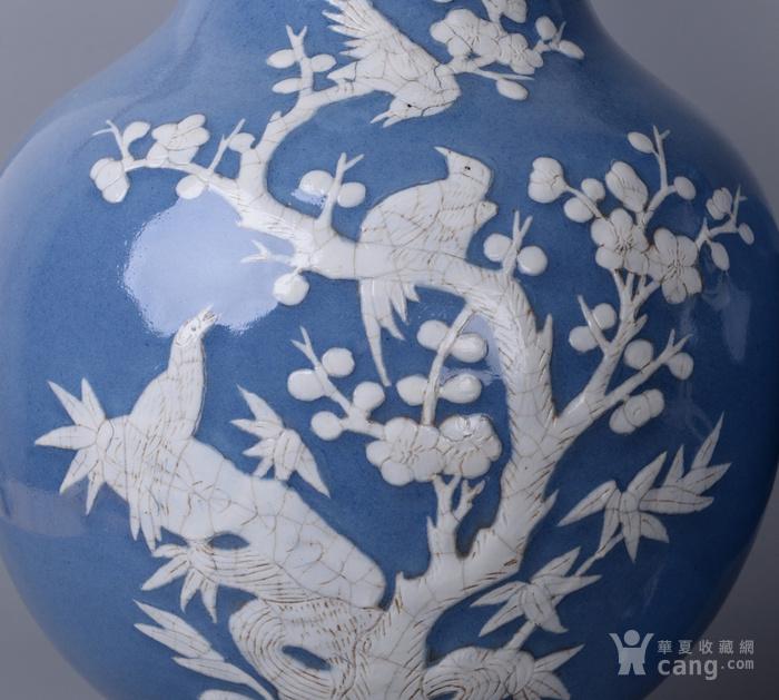 欧洲回流蓝釉堆白花鸟大瓶一对图2