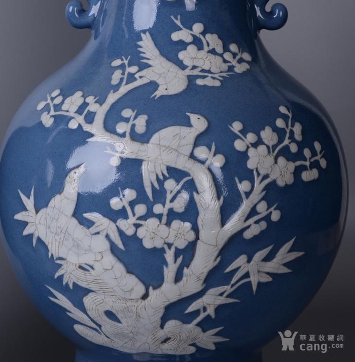 欧洲回流蓝釉堆白花鸟大瓶一对图4