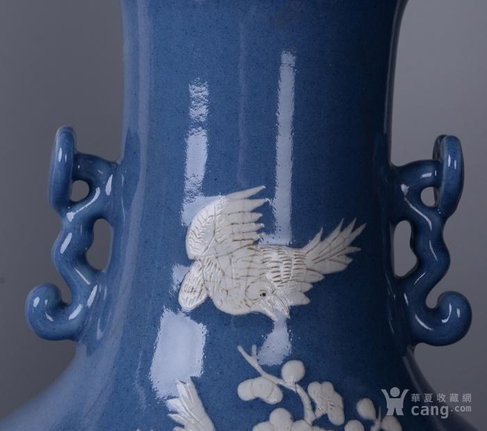 欧洲回流蓝釉堆白花鸟大瓶一对图6