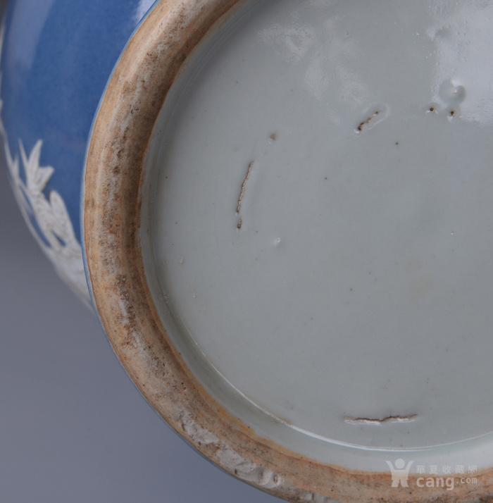 欧洲回流蓝釉堆白花鸟大瓶一对图9