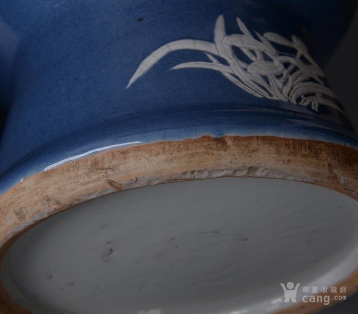 欧洲回流蓝釉堆白花鸟大瓶一对图10
