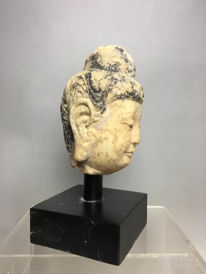 汉白玉石雕观音佛头图2