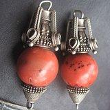 藏式王爷用 珊瑚珠银托耳坠