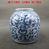青花海草纹罐