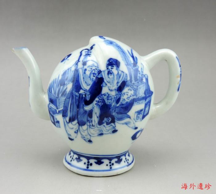 清 光绪 青花寿星人物寿桃型倒流壶 茶壶图1