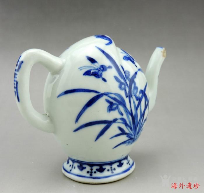清 光绪 青花寿星人物寿桃型倒流壶 茶壶图12