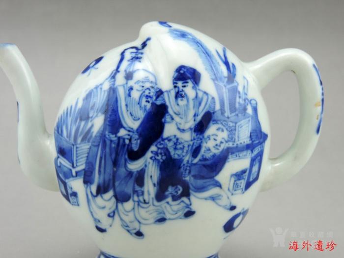 清 光绪 青花寿星人物寿桃型倒流壶 茶壶图4
