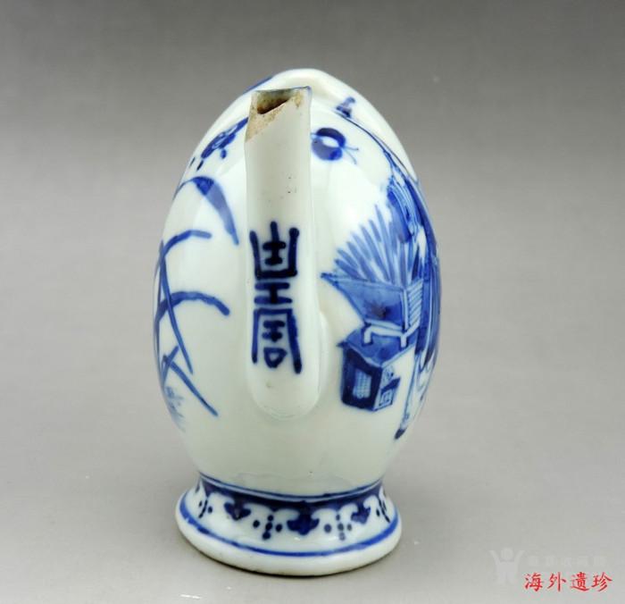 清 光绪 青花寿星人物寿桃型倒流壶 茶壶图5