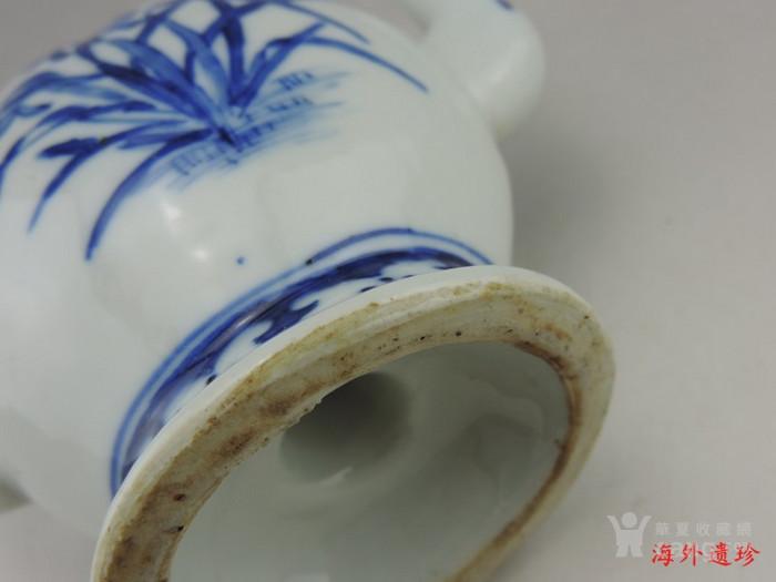清 光绪 青花寿星人物寿桃型倒流壶 茶壶图8
