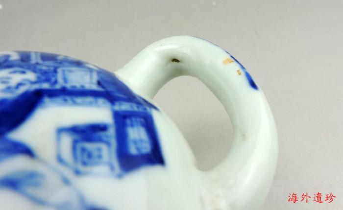 清 光绪 青花寿星人物寿桃型倒流壶 茶壶图9
