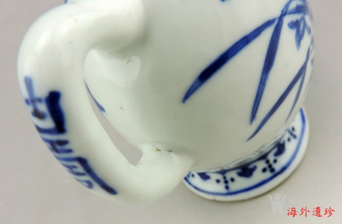 清 光绪 青花寿星人物寿桃型倒流壶 茶壶图11