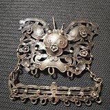 清朝银蝴蝶挂件 古玉老玉明清玉包老包真玉器古玩瓷器铜器