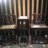 老红木两椅一几 椅高50cm 椅背高89cm几高79.5cm
