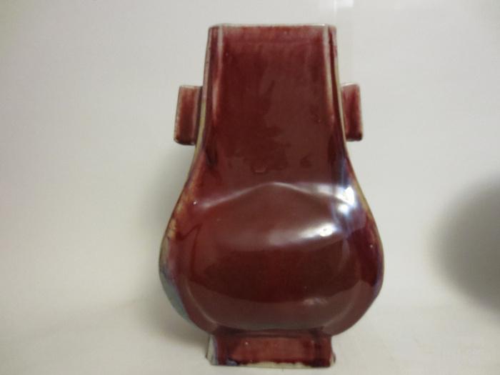 光绪红釉贯耳瓶图5