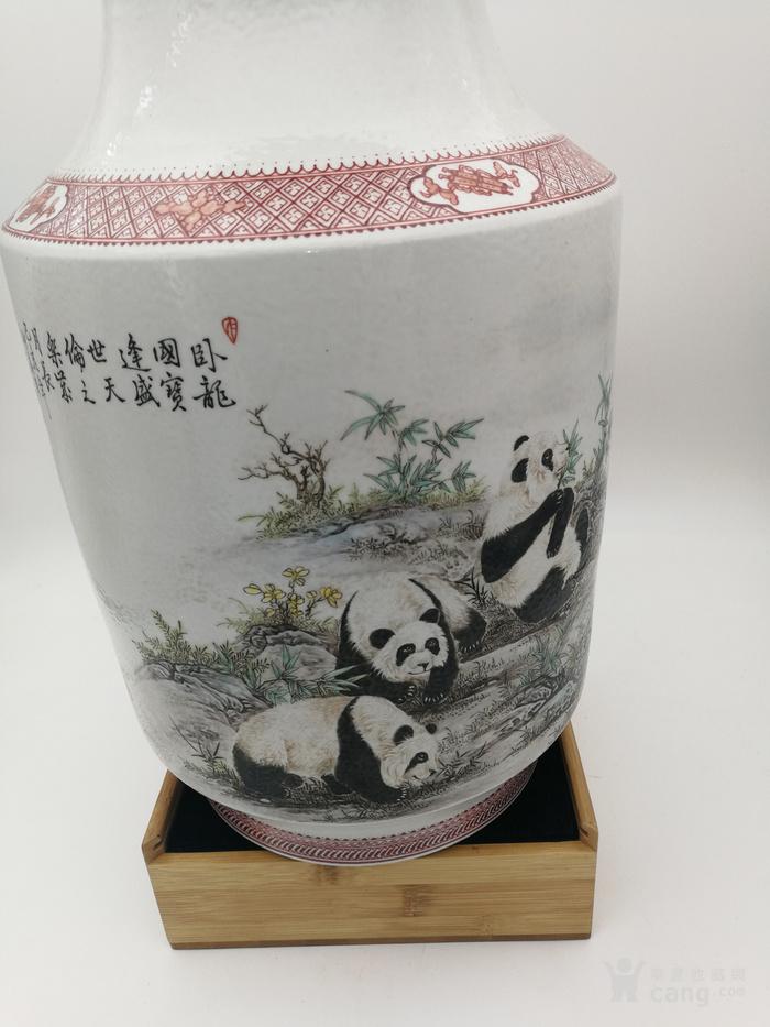 珠山名家  章鉴作品  国宝熊猫冬瓜瓶图8