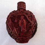 清代铜胎剔红雕漆山水人物鼻烟壶