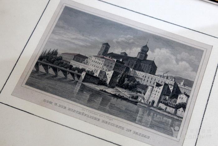 19世纪版画两张 德国Karlsruhe Passau图4
