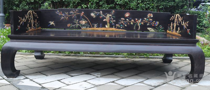 古典家具木器 小叶紫檀木镶百宝独板罗汉床 特价包邮图3