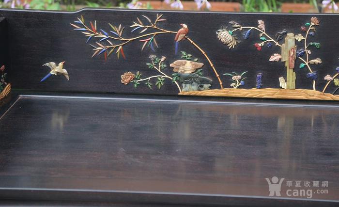 古典家具木器 小叶紫檀木镶百宝独板罗汉床 特价包邮图4