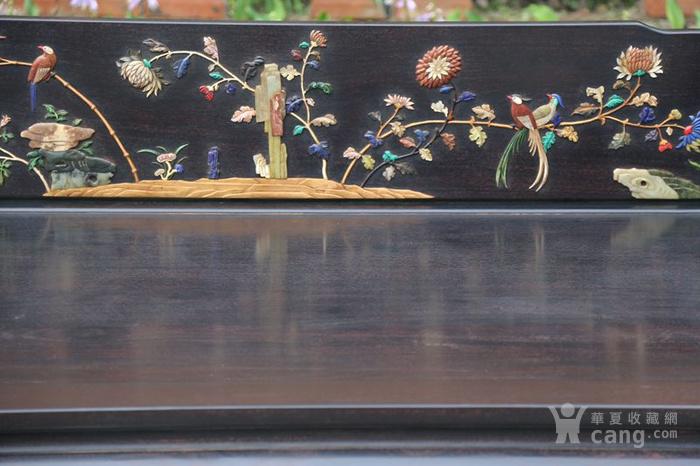 古典家具木器 小叶紫檀木镶百宝独板罗汉床 特价包邮图5