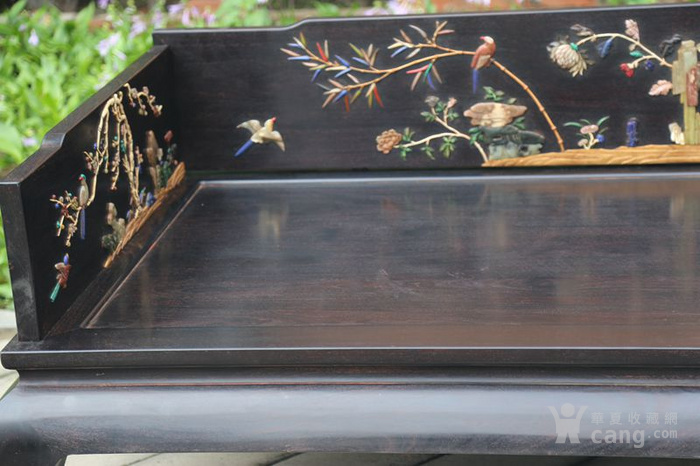 古典家具木器 小叶紫檀木镶百宝独板罗汉床 特价包邮图7
