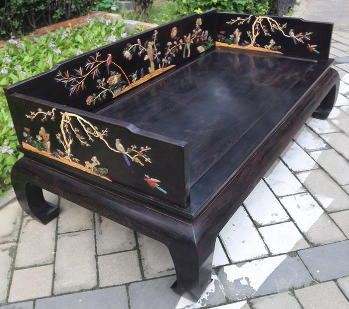 古典家具木器 小叶紫檀木镶百宝独板罗汉床 特价包邮图1