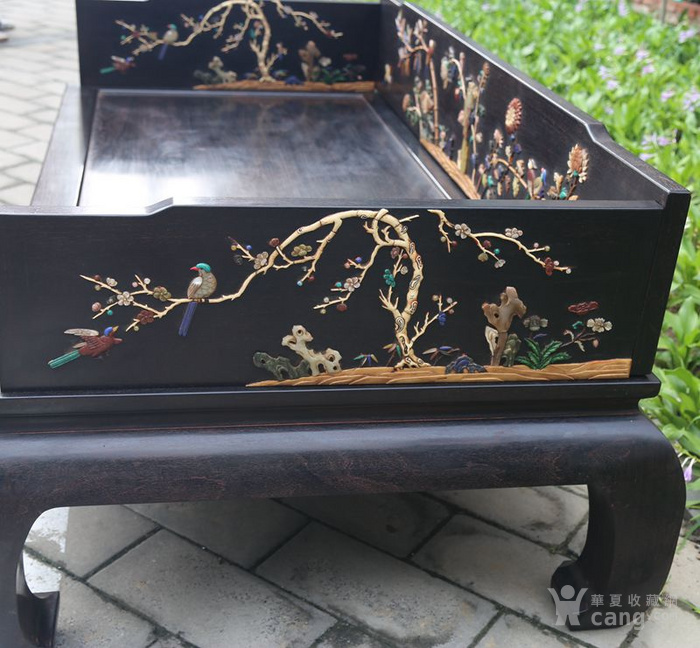 古典家具木器 小叶紫檀木镶百宝独板罗汉床 特价包邮图8