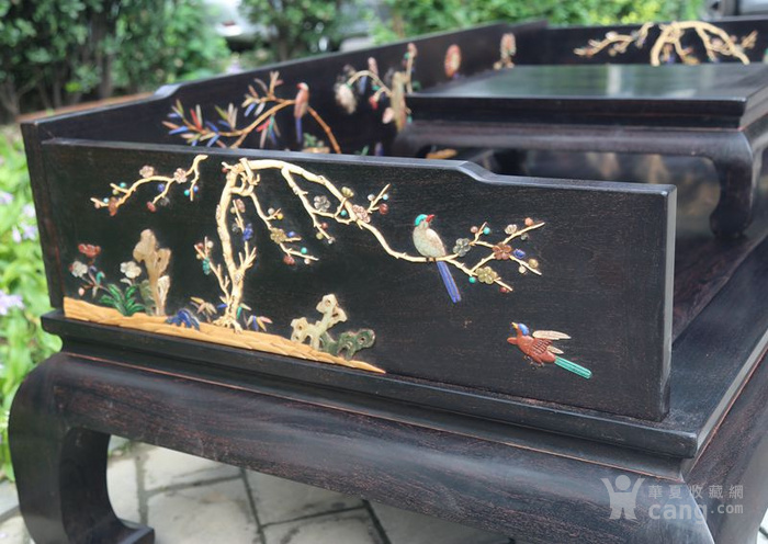 古典家具木器 小叶紫檀木镶百宝独板罗汉床 特价包邮图9