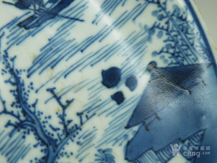 第158号珠明料翠毛蓝分水披麻皴抱琴会友人物故事康熙青花盘图8