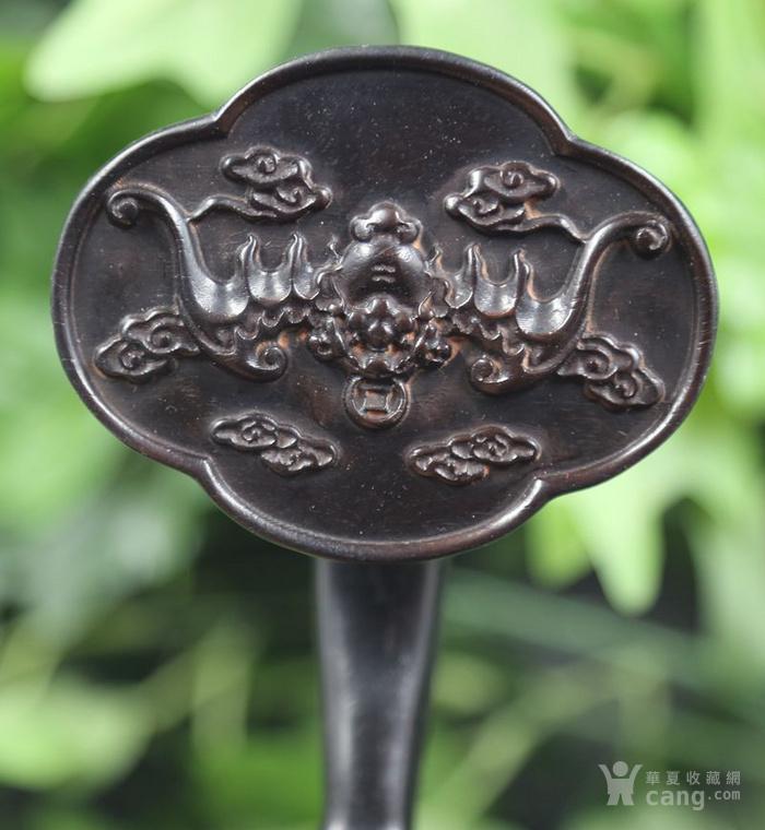 紫檀木雕福在眼前竹节如意摆件 特价包邮图10