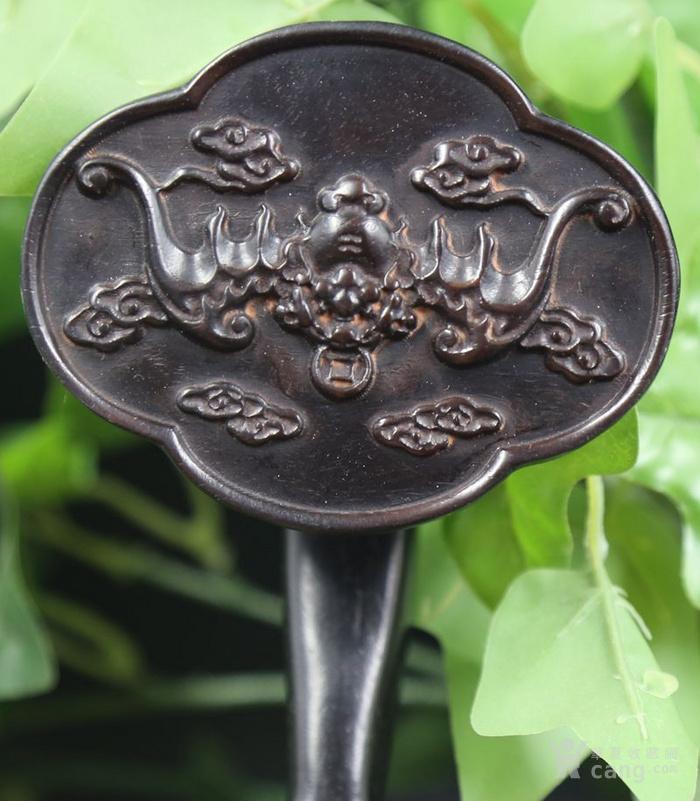 紫檀木雕福在眼前竹节如意摆件 特价包邮图11