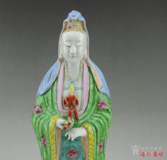 清 乾隆 精品粉彩观音菩萨立像图3