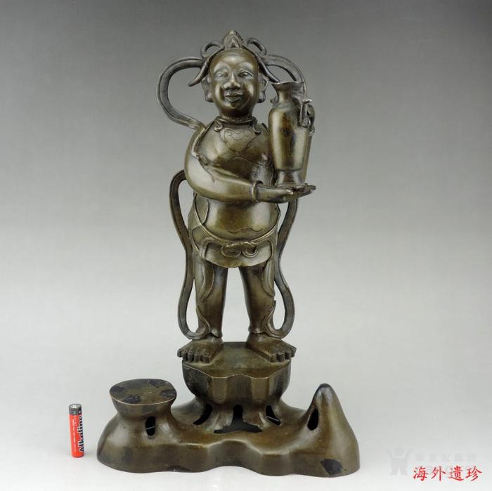 清代 童子报平安铜像高33.8厘米图1