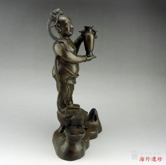 清代 童子报平安铜像高33.8厘米图5