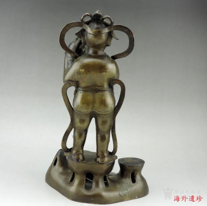 清代 童子报平安铜像高33.8厘米图6