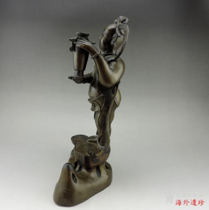 清代 童子报平安铜像高33.8厘米图7